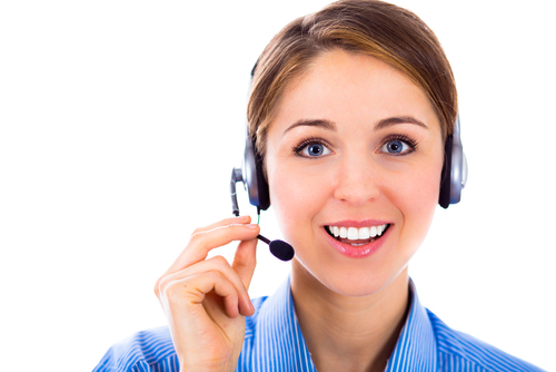 customer service executive on call with retail customers