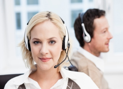 call center agents with clients